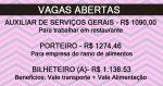 AUXILIAR DE SERVIÇOS GERAIS, PORTEIRO E BILHETEIRO (A) – CANDIDATE-SE